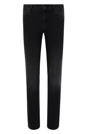 Мужские джинсы MOORER темно-серого цвета, арт. PAVEL-PS701/M0UDE100008-TEPA093 | Фото 1 (Материал внешний: Хлопок; Длина (брюки, джинсы): Стандартные; Кросс-КТ: Деним; Силуэт М (брюки): Прямые; Стили: Классический)