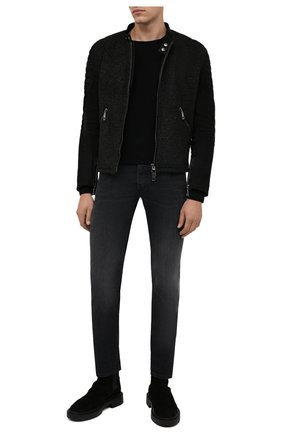 Мужские джинсы MOORER темно-серого цвета, арт. PAVEL-PS701/M0UDE100008-TEPA093 | Фото 2 (Материал внешний: Хлопок; Длина (брюки, джинсы): Стандартные; Кросс-КТ: Деним; Силуэт М (брюки): Прямые; Стили: Классический)