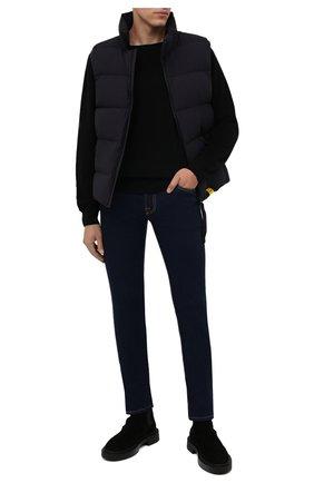 Мужские джинсы MOORER темно-синего цвета, арт. PAVEL-DC107/M0UDE100008-TEPA360 | Фото 2 (Материал внешний: Хлопок; Длина (брюки, джинсы): Стандартные; Кросс-КТ: Деним; Силуэт М (брюки): Прямые; Стили: Классический)