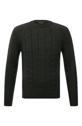 Мужской шерстяной свитер MOORER темно-зеленого цвета, арт. LAVARED0-CWH/M0UMA100055-TEPA229 | Фото 1 (Материал внешний: Шерсть; Мужское Кросс-КТ: Свитер-одежда; Принт: Без принта; Стили: Кэжуэл; Длина (для топов): Стандартные; Рукава: Длинные)