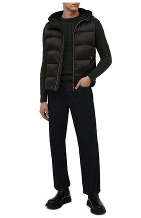 Мужской шерстяной свитер MOORER темно-зеленого цвета, арт. LAVARED0-CWH/M0UMA100055-TEPA229 | Фото 2 (Материал внешний: Шерсть; Мужское Кросс-КТ: Свитер-одежда; Принт: Без принта; Стили: Кэжуэл; Длина (для топов): Стандартные; Рукава: Длинные)