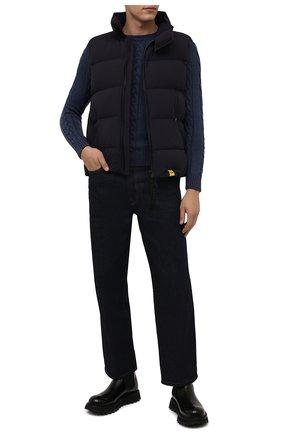 Мужской шерстяной свитер MOORER синего цвета, арт. LAVARED0-CWH/M0UMA100055-TEPA229 | Фото 2 (Материал внешний: Шерсть; Мужское Кросс-КТ: Свитер-одежда; Принт: Без принта; Стили: Кэжуэл; Длина (для топов): Стандартные; Рукава: Длинные)