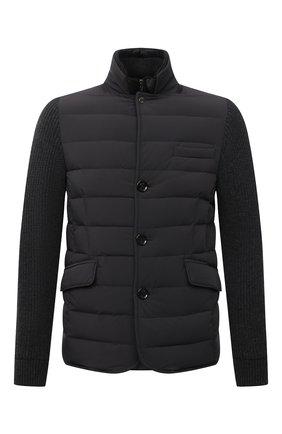 Мужская комбинированная куртка rogers-knm MOORER серого цвета, арт. R0GERS-KNM/M0UGI100318-TEPA237 | Фото 1 (Материал внешний: Синтетический материал; Длина (верхняя одежда): Короткие; Материал утеплителя: Пух и перо; Рукава: Длинные; Кросс-КТ: Куртка; Мужское Кросс-КТ: пуховик-короткий; Стили: Кэжуэл)