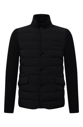 Мужская комбинированная куртка rogers-knm MOORER темно-синего цвета, арт. R0GERS-KNM/M0UGI100318-TEPA237 | Фото 1 (Материал утеплителя: Пух и перо; Материал внешний: Синтетический материал; Кросс-КТ: Куртка; Мужское Кросс-КТ: пуховик-короткий; Длина (верхняя одежда): Короткие; Стили: Кэжуэл; Рукава: Длинные)