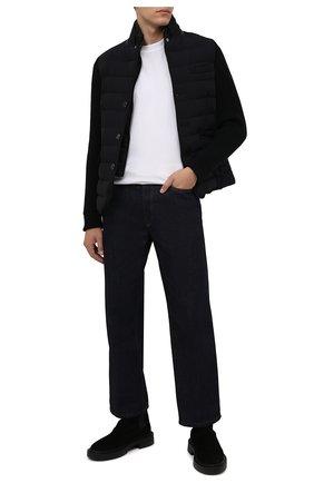 Мужская комбинированная куртка rogers-knm MOORER темно-синего цвета, арт. R0GERS-KNM/M0UGI100318-TEPA237 | Фото 2 (Материал утеплителя: Пух и перо; Материал внешний: Синтетический материал; Кросс-КТ: Куртка; Мужское Кросс-КТ: пуховик-короткий; Длина (верхняя одежда): Короткие; Стили: Кэжуэл; Рукава: Длинные)