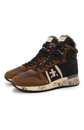 Мужские комбинированные кроссовки jeff PREMIATA коричневого цвета, арт. JEFF/VAR5510 | Фото 1 (Материал внешний: Текстиль; Материал утеплителя: Натуральный мех; Стили: Гранж; Подошва: Массивная)