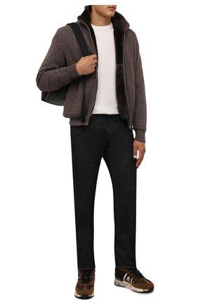Мужские комбинированные кроссовки jeff PREMIATA коричневого цвета, арт. JEFF/VAR5510 | Фото 2 (Материал внешний: Текстиль; Материал утеплителя: Натуральный мех; Стили: Гранж; Подошва: Массивная)