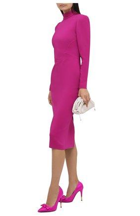 Женские текстильные туфли satin bow TOM FORD фуксия цвета, арт. W2927T-TSA001 | Фото 2 (Материал внешний: Текстиль; Подошва: Плоская; Материал внутренний: Натуральная кожа; Каблук высота: Высокий; Каблук тип: Шпилька)