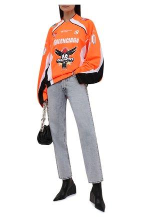 Женские кожаные ботильоны nappa doll OFF-WHITE черного цвета, арт. 0WIE014F21LEA0011000 | Фото 2 (Подошва: Плоская; Материал внутренний: Натуральная кожа; Каблук тип: Танкетка; Каблук высота: Высокий)