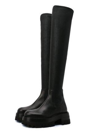 Женские кожаные ботфорты VERSACE черного цвета, арт. 1000833/1A00681   Фото 1 (Материал внутренний: Натуральная кожа; Высота голенища: Высокие; Подошва: Платформа; Каблук тип: Устойчивый; Каблук высота: Низкий)
