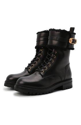 Женские кожаные ботинки VERSACE черного цвета, арт. DST419E/DVPS | Фото 1 (Подошва: Платформа; Каблук высота: Низкий; Материал внутренний: Натуральная кожа; Материал утеплителя: Натуральный мех; Женское Кросс-КТ: Военные ботинки)