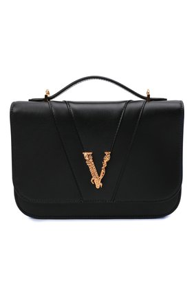 Женская сумка virtus medium VERSACE черного цвета, арт. DBFG985/1A00845   Фото 1 (Размер: medium; Ремень/цепочка: На ремешке; Материал: Натуральная кожа; Сумки-технические: Сумки top-handle)