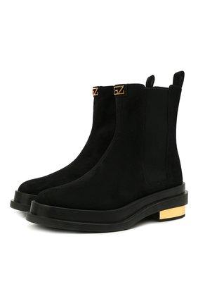 Женские замшевые ботинки GIUSEPPE ZANOTTI DESIGN черного цвета, арт. I170025/002   Фото 1 (Подошва: Платформа; Каблук высота: Низкий; Материал внутренний: Натуральная кожа; Женское Кросс-КТ: Челси-ботинки; Материал внешний: Замша)