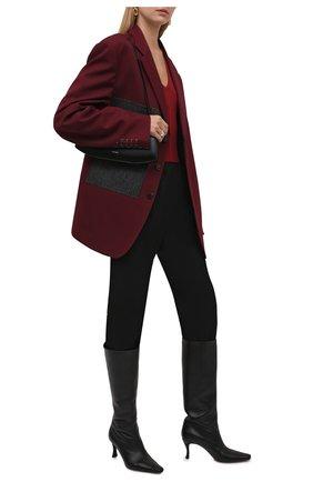 Женские кожаные сапоги stevie 42 BY FAR черного цвета, арт. 21PFSVIDBLSMC   Фото 2 (Материал внутренний: Натуральная кожа; Подошва: Плоская; Каблук высота: Высокий; Высота голенища: Средние; Каблук тип: Шпилька)