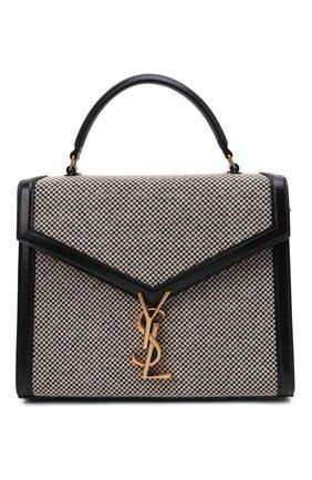 Женская сумка cassandra medium SAINT LAURENT черно-белого цвета, арт. 623931/25E1W | Фото 1 (Ремень/цепочка: На ремешке; Материал: Натуральная кожа; Размер: medium; Сумки-технические: Сумки top-handle)