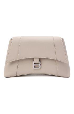 Женская сумка hourglass s BALENCIAGA кремвого цвета, арт. 671353/29S1Y | Фото 1 (Материал: Натуральная кожа; Размер: medium; Сумки-технические: Сумки через плечо)