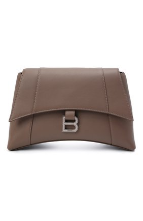 Женская сумка hourglass s BALENCIAGA бежевого цвета, арт. 671353/29S1Y | Фото 1 (Размер: medium; Материал: Натуральная кожа; Сумки-технические: Сумки через плечо)