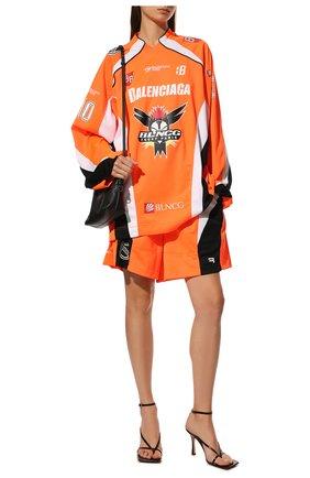 Женская лонгслив BALENCIAGA оранжевого цвета, арт. 657867/TKV24 | Фото 2 (Длина (для топов): Удлиненные; Материал внешний: Синтетический материал; Рукава: Длинные; Стили: Спорт-шик; Принт: С принтом; Женское Кросс-КТ: Лонгслив-одежда)