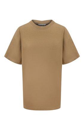 Женская хлопковая футболка BALENCIAGA темно-бежевого цвета, арт. 612965/TJV87 | Фото 1 (Материал внешний: Хлопок; Рукава: Короткие; Длина (для топов): Стандартные; Стили: Спорт-шик; Принт: Без принта; Женское Кросс-КТ: Футболка-одежда)