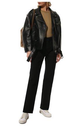 Женская хлопковая футболка BALENCIAGA темно-бежевого цвета, арт. 612965/TJV87 | Фото 2 (Материал внешний: Хлопок; Рукава: Короткие; Длина (для топов): Стандартные; Стили: Спорт-шик; Принт: Без принта; Женское Кросс-КТ: Футболка-одежда)