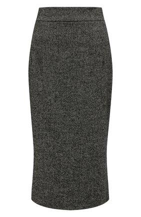 Женская шерстяная юбка DOLCE & GABBANA серого цвета, арт. F4BMQT/GDZ00 | Фото 1 (Длина Ж (юбки, платья, шорты): Миди; Материал внешний: Шерсть; Материал подклада: Шелк; Стили: Гламурный; Женское Кросс-КТ: Юбка-одежда, Юбка-карандаш)
