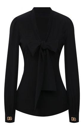 Женская шелковая блузка DOLCE & GABBANA черного цвета, арт. F5067Z/FUABS   Фото 1 (Рукава: Длинные; Материал внешний: Шелк; Длина (для топов): Стандартные; Стили: Гламурный; Женское Кросс-КТ: Блуза-одежда; Принт: Без принта)