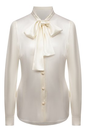Женская шелковая блузка DOLCE & GABBANA кремвого цвета, арт. F5P09T/FURAG | Фото 1 (Материал внешний: Шелк; Рукава: Длинные; Длина (для топов): Стандартные; Стили: Романтичный; Принт: Без принта; Женское Кросс-КТ: Блуза-одежда)