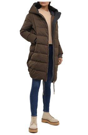 Женская утепленная куртка LORENA ANTONIAZZI хаки цвета, арт. I2113PI26A/3348 | Фото 2 (Длина (верхняя одежда): До середины бедра; Материал внешний: Синтетический материал; Материал подклада: Синтетический материал; Рукава: Длинные; Стили: Спорт-шик; Кросс-КТ: Куртка; Женское Кросс-КТ: Пуховик-куртка)