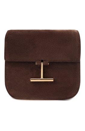 Женская сумка tara mini TOM FORD темно-коричневого цвета, арт. L1502T-LCL209   Фото 1 (Ремень/цепочка: На ремешке; Размер: mini; Материал: Натуральная кожа, Натуральная замша; Сумки-технические: Сумки через плечо)