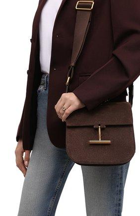 Женская сумка tara mini TOM FORD темно-коричневого цвета, арт. L1502T-LCL209   Фото 2 (Ремень/цепочка: На ремешке; Размер: mini; Материал: Натуральная кожа, Натуральная замша; Сумки-технические: Сумки через плечо)