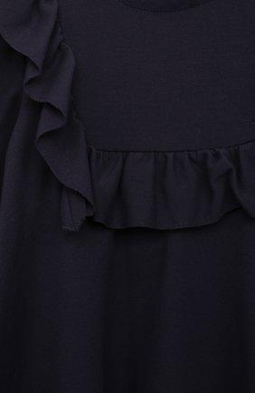 Детское платье из вискозы IL GUFO синего цвета, арт. A21VL454M0041/2A-4A | Фото 3 (Рукава: Длинные; Случай: Повседневный; Материал внешний: Вискоза; Девочки Кросс-КТ: Платье-одежда; Ростовка одежда: 36 мес | 98 см)