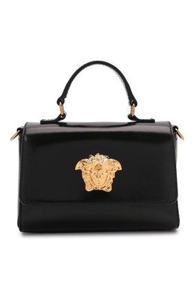 Детская кожаная сумка VERSACE черного цвета, арт. 1001622/1A01269   Фото 1 (Материал: Натуральная кожа)