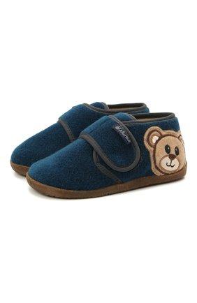 Детского домашние ботинки NATURINO синего цвета, арт. 0014000674/01/20-23 | Фото 1 (Материал внешний: Текстиль; Материал внутренний: Натуральная кожа, Текстиль; Кросс-КТ: велькро)