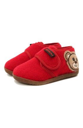 Детского домашние ботинки NATURINO красного цвета, арт. 0014000674/01/20-23 | Фото 1 (Материал внутренний: Текстиль, Натуральная кожа; Материал внешний: Текстиль; Кросс-КТ: велькро)