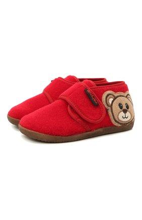 Детского домашние ботинки NATURINO красного цвета, арт. 0014000674/01/24-26 | Фото 1 (Материал внутренний: Натуральная кожа, Текстиль; Материал внешний: Текстиль; Кросс-КТ: велькро)