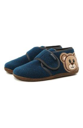 Детского домашние ботинки NATURINO синего цвета, арт. 0014000674/01/27-29 | Фото 1 (Материал внешний: Текстиль; Материал внутренний: Натуральная кожа, Текстиль; Кросс-КТ: велькро)