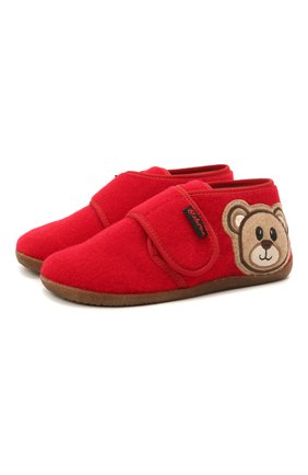 Детского домашние ботинки NATURINO красного цвета, арт. 0014000674/01/27-29 | Фото 1 (Материал внутренний: Текстиль, Натуральная кожа; Материал внешний: Текстиль; Кросс-КТ: велькро)