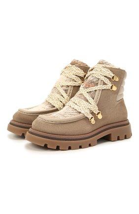 Детские кожаные ботинки JARRETT коричневого цвета, арт. J3TR122B/CR.EV0/28-34   Фото 1 (Материал утеплителя: Шерсть)