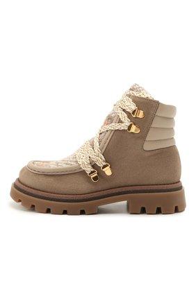 Детские кожаные ботинки JARRETT коричневого цвета, арт. J3TR122B/CR.EV0/28-34   Фото 2 (Материал утеплителя: Шерсть)