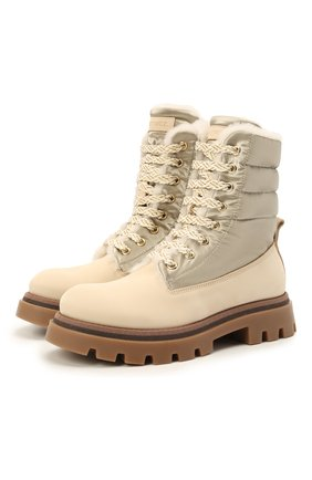 Детские кожаные ботинки с мехом JARRETT кремвого цвета, арт. J3TR124A/M0RBID0NE/35-40 | Фото 1 (Материал утеплителя: Натуральный мех)