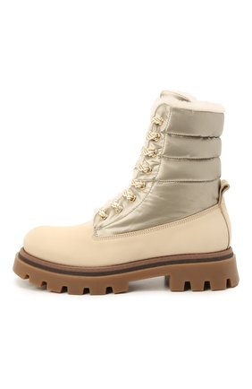 Детские кожаные ботинки с мехом JARRETT кремвого цвета, арт. J3TR124A/M0RBID0NE/35-40 | Фото 2 (Материал утеплителя: Натуральный мех)