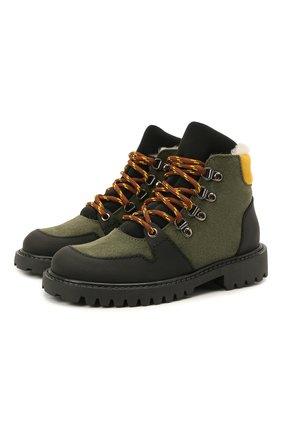 Детские кожаные ботинки с мехом IL GUFO хаки цвета, арт. G471/VEL0UR/27-30   Фото 1 (Материал утеплителя: Натуральный мех)