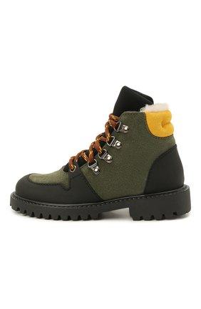 Детские кожаные ботинки с мехом IL GUFO хаки цвета, арт. G471/VEL0UR/27-30   Фото 2 (Материал утеплителя: Натуральный мех)
