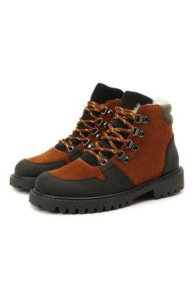 Детские кожаные ботинки с мехом IL GUFO коричневого цвета, арт. G471/VEL0UR/27-30   Фото 1 (Материал утеплителя: Натуральный мех)