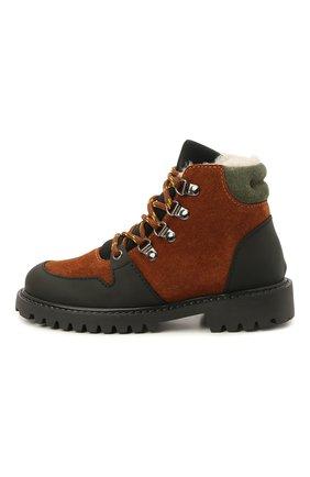 Детские кожаные ботинки с мехом IL GUFO коричневого цвета, арт. G471/VEL0UR/27-30   Фото 2 (Материал утеплителя: Натуральный мех)