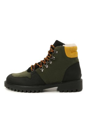 Детские кожаные ботинки с мехом IL GUFO хаки цвета, арт. G471/VEL0UR/35-42   Фото 2 (Материал утеплителя: Натуральный мех)