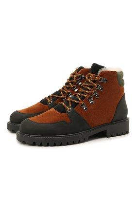 Детские кожаные ботинки с мехом IL GUFO коричневого цвета, арт. G471/VEL0UR/35-42   Фото 1 (Материал утеплителя: Натуральный мех)