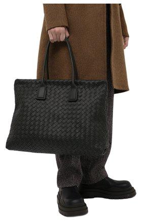 Мужская кожаная сумка BOTTEGA VENETA темно-зеленого цвета, арт. 667286/V0E51 | Фото 2 (Материал: Натуральная кожа)