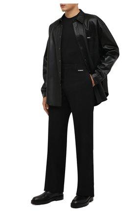 Мужские брюки из вискозы и шерсти VETEMENTS черного цвета, арт. MA52PA540B 1500 | Фото 2 (Материал внешний: Шерсть, Вискоза; Длина (брюки, джинсы): Стандартные; Материал подклада: Вискоза; Случай: Повседневный; Стили: Минимализм)