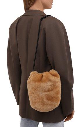 Женская сумка drawstring small JIL SANDER светло-коричневого цвета, арт. JSPT853407-WTB69163 | Фото 2 (Размер: small; Материал: Натуральный мех; Сумки-технические: Сумки через плечо)